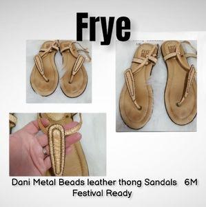 Frye Dani Metal Beads leather thong Sandals  6M